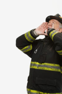 Portrait of a firefighter shouting